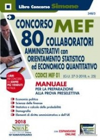 Concorso MEF 80 Collaboratori Orientamento Statistico-Economico Quatitativo Manuale