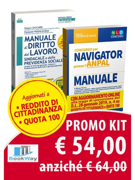 kit manuale navigator + manuale di diritto del lavoro, aggiornato a quota 100 e rdc