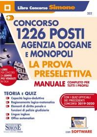 Concorso 1226 Posti Agenzia Dogane e Monopoli Manuale per Tutti i Profili Prova Preselettiva