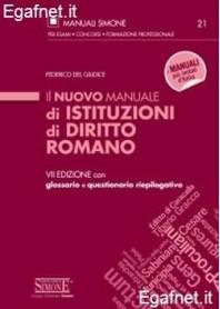 Nuovo Manuale Di Istituzioni Di Diritto Romano di Federico del Giudice